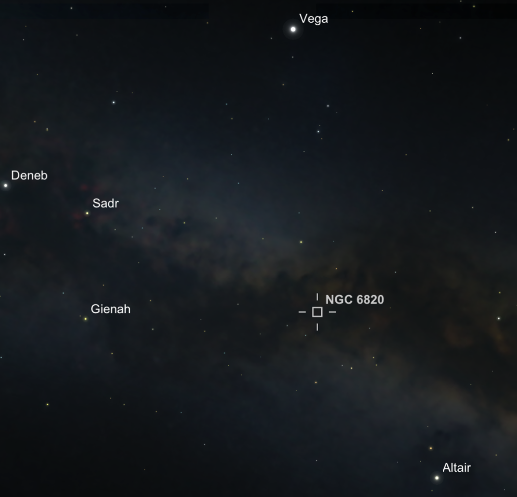 Location of nebula NGC 6820 and star cluster NGC 6823 in Vulpecula.