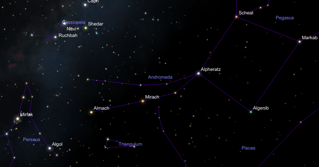 An image showing the position of Almaak (gamma Andromedae).  Click to enlarge.