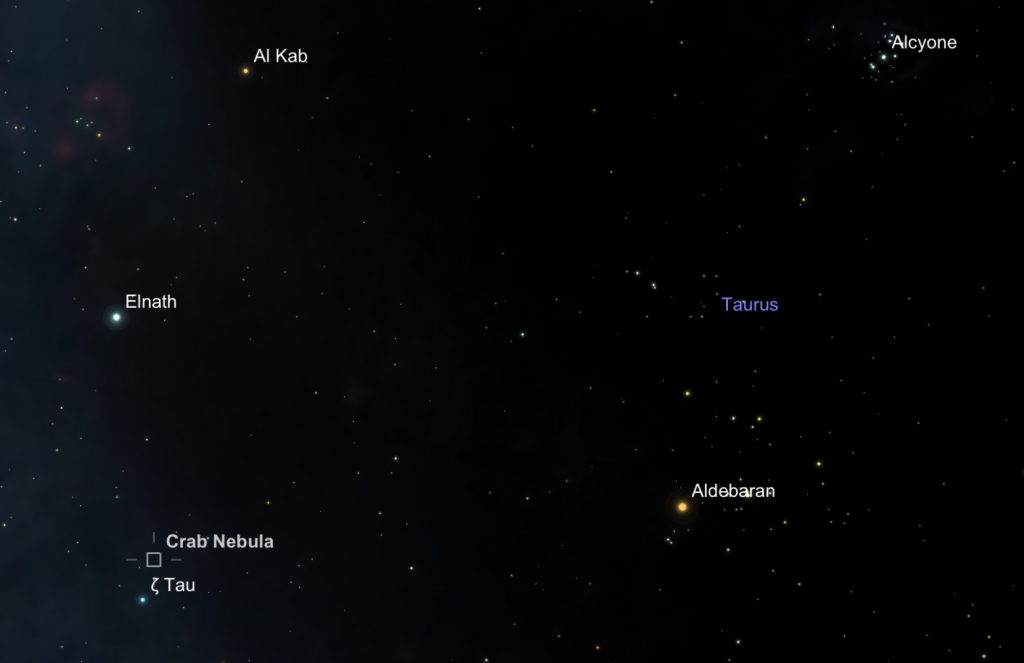 The position of the Crab Nebula, M1, northwest of the star zeta Tauri in the constellation Taurus.