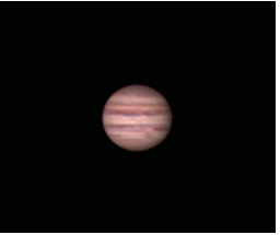 Jupiter as it might appear at 200x in a small telescope in steady seeing