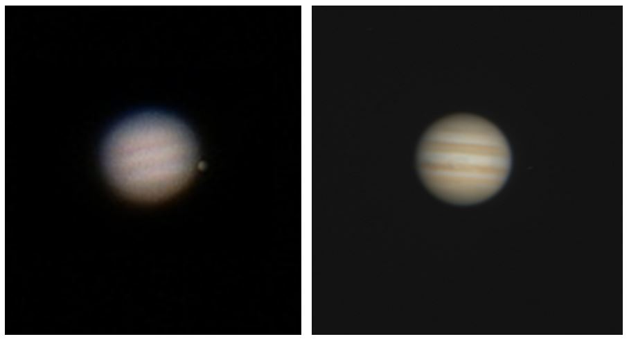 "An approximation of the image of Jupiter in a 2"" (left) and 4"" telescope."