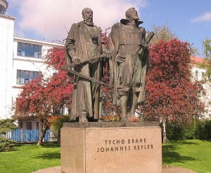 Statue of Johannes Kepler and Tycho Brahe in Prague.