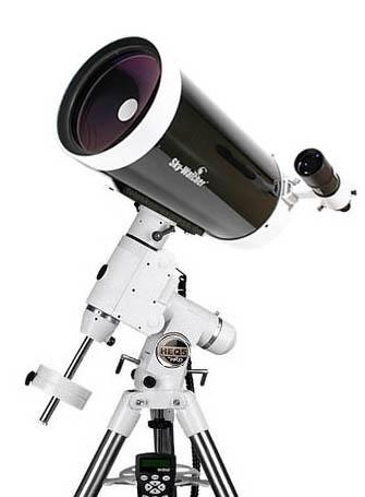 "A Skywatcher 150mm (6"") Maksutov-Cassegrain telescope on an equatorial mount."