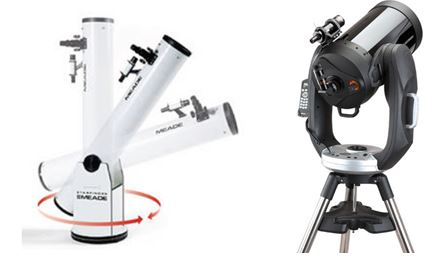A Dobsonian (left) and a Schmidt-Cassegrain on alt-az mounts