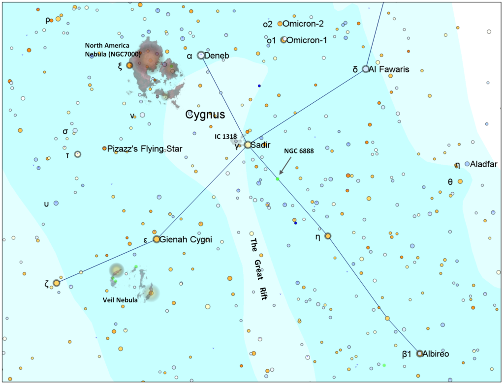 A map of the constellation Cygnus showing the objects in this sky tour.