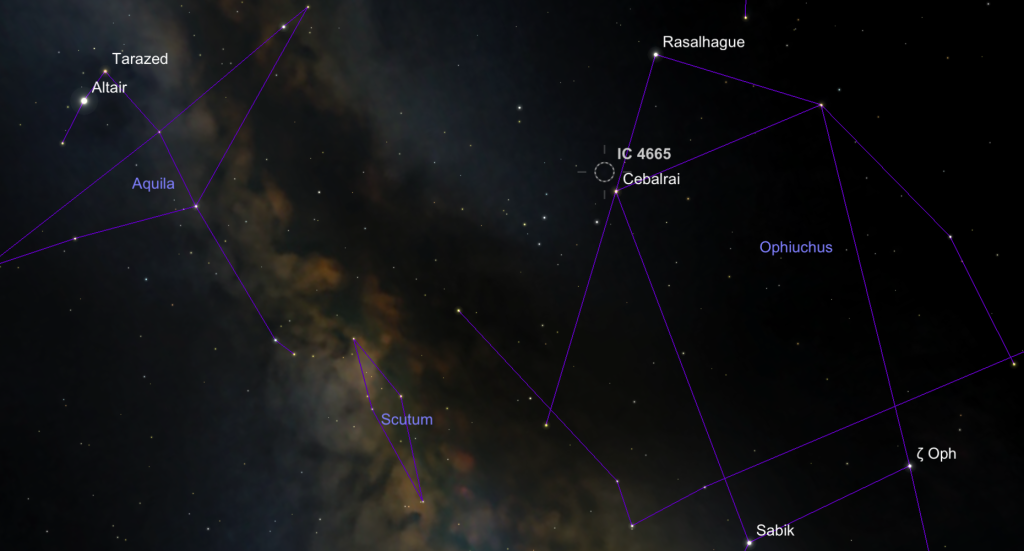 Location of the star cluster IC 4665 in the constellation Ophiuchus and NE of the asterism called Taurus Poniatowski.