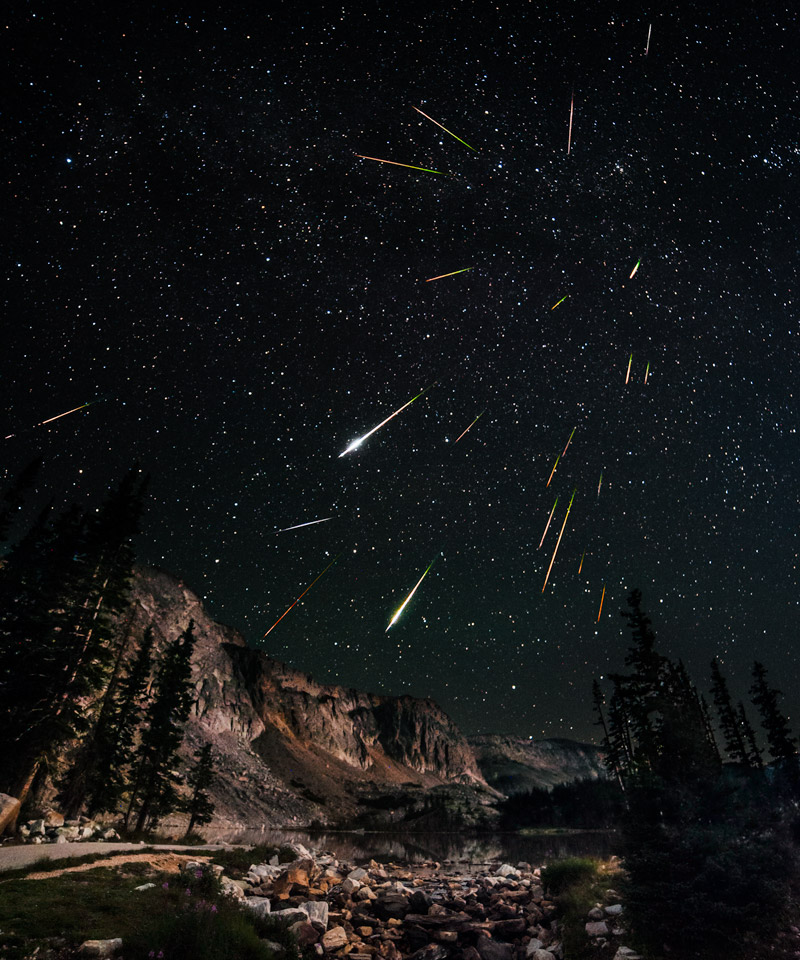 2012 Perseids Meteor Shower over the Snowy Range in Wyoming (credit: David Kingham)
