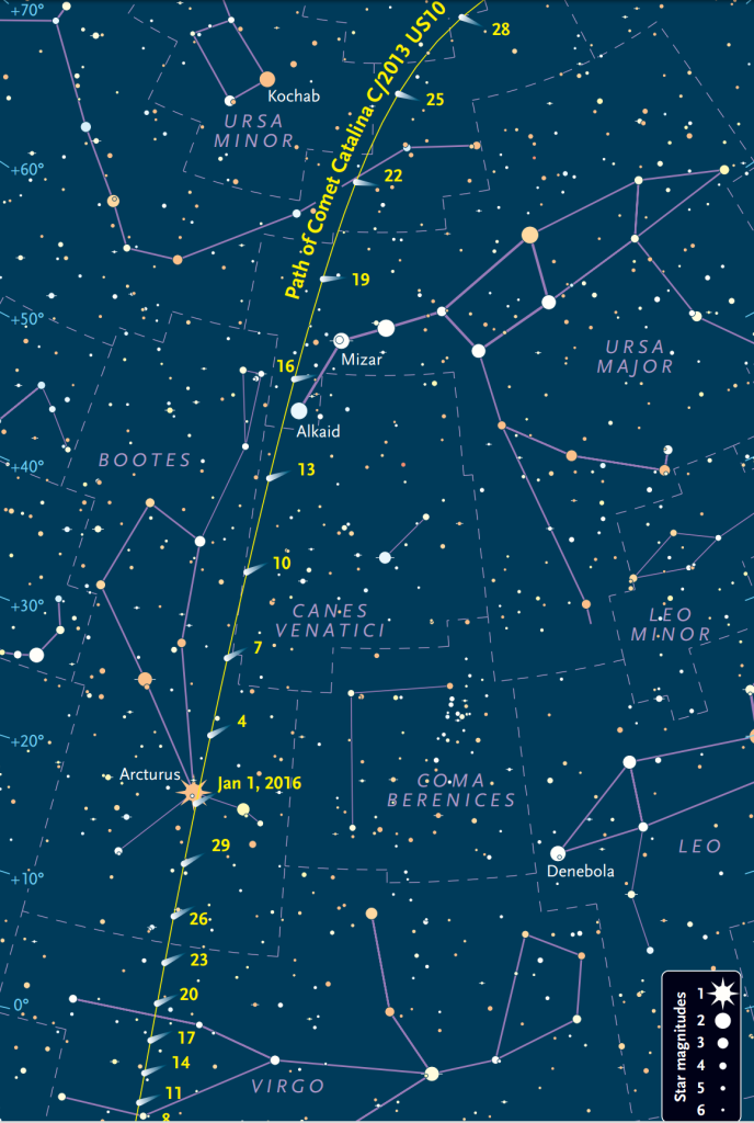 Map showing the position of Comet C/2013 US10 (Catalina) during January 2016. Image credit: skyandtelescope.com