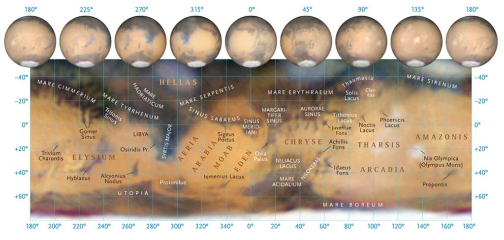 A full-surface map of Mars showing the major regions of the planet visible from Earth (credit: Sky and Telescope).