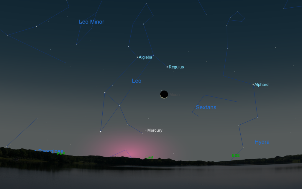 Mercury and the Moon in the eastern sky before sunrise on Sept. 28, 2016. The constellation Leo and its brightest star Regulus also reappear in the eastern morning sky.