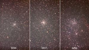 A comparison of the three Messier clusters in Auriga, M36, M37, and M38. Credit: ExploreCrete.com