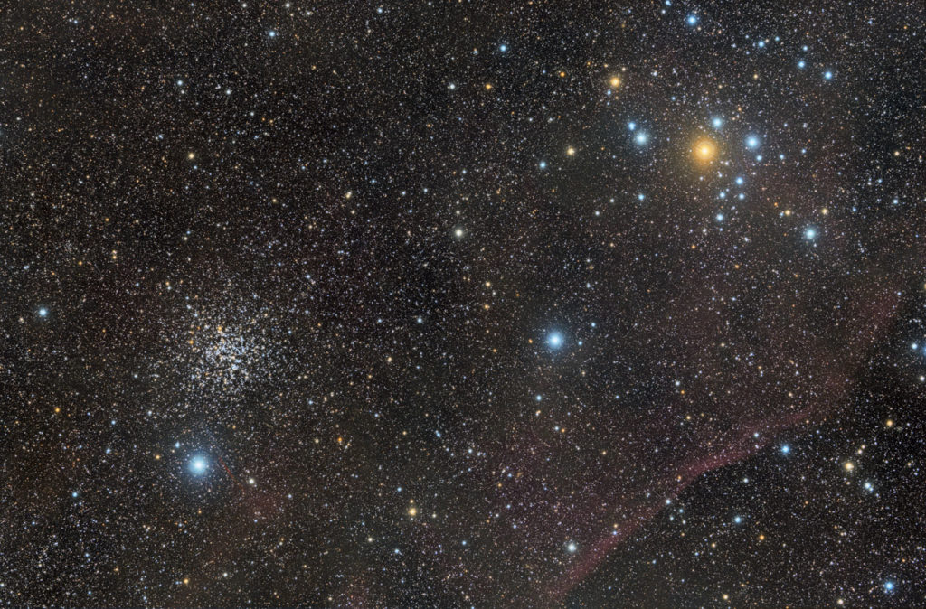 """NGC 2477(also known asCaldwell 71) is anopen clusterin theconstellationPuppis. It contains about 300 stars,and was discovered byAbbe Lacaillein 1751.The cluster's age has been estimated at about 700 million years. NGC 2477 is a stunning cluster, almost as extensive in the sky as the full moon. It has been called """"one of the top open clusters in the sky"""",like a highly-resolvedglobular clusterwithout the dense center characteristic of globular clusters. Credit: J. Perez/ESO."""