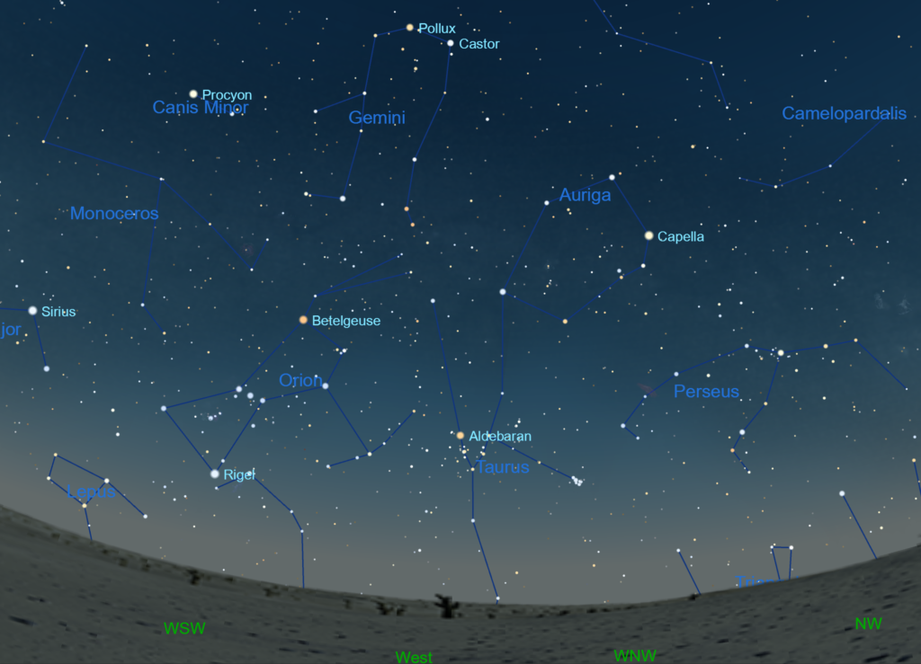 Gemini is still well overhead, north and east of the constellation Orion, in the evening hours in March.