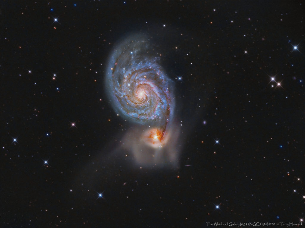 Messier 51, the Whirlpool Galaxy, and its companion NGC 5195. Credit: Terry Hancock at Downunderobservatory.com